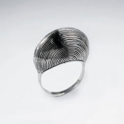 Exotic Oxidized Silver Lined Fan Ring