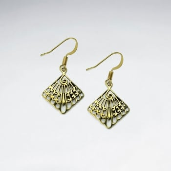 Exotic Royal Brass Marquis Silhouette Filigree Dangle Drop Earrings