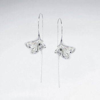Exquisite Fanned Leaf Inspired Silver Drop Hook Earrings