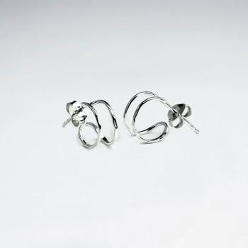 Exquisite Nights Sterling Silver Half Hoop Earrings
