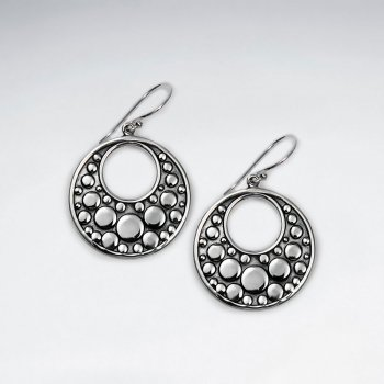 Exquisite Oxidized Open-Circle Bubble Textured Drop Dangle Earrings