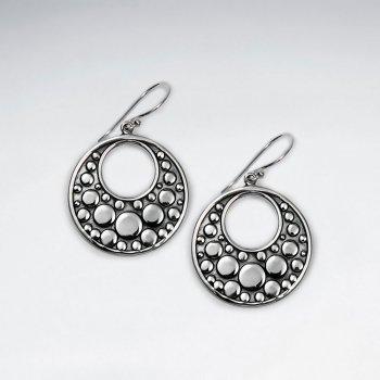 Exquisite Oxidized Open-Circle Bubble Textured Drop Dangle Earrings