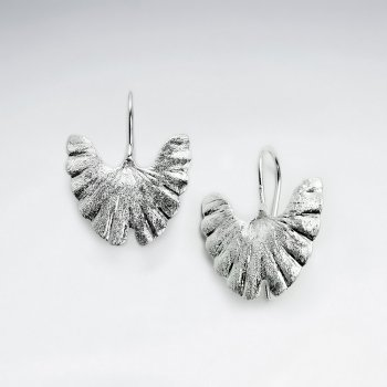 Extended Leaf Fan Shape Textured Drop Earrings