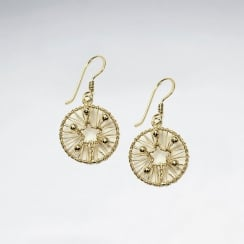 Eye-Catching Silver Drop Wire Work Hoop Earrings With Petite Open Star at Core