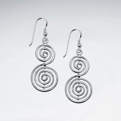 Fabulous Double Swirl Dangle Hook Earrings