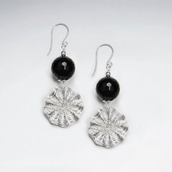 Faceted Black Stone Dangling Earring With Wirework