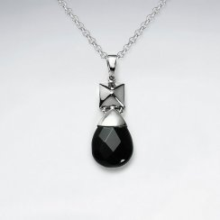 Faceted Black Stone Drop Silver Pendant