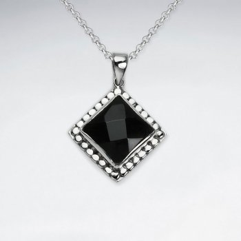 Faceted Black Stone Silver Pendant