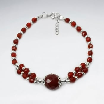 Faceted Carnelian Ball Bead Bracelet