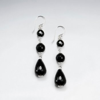 Faceted Drop And Round Black Stone Silver Dangling Earring