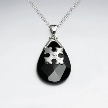 Faceted Drop Black Stone Silver Pendant