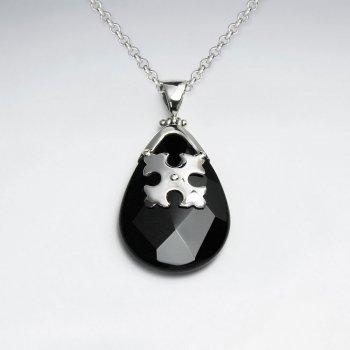 Faceted Drop Black Stone Silver Pendant