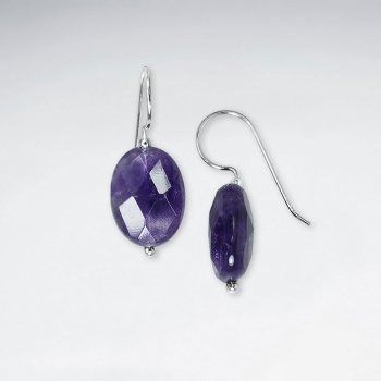 Faceted Oval Amethyst Dangling Earring