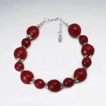 Faceted Red Aventerine Large Beads Bracelet
