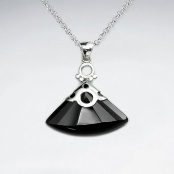 Faceted Triangle Black Stone Silver Pendant