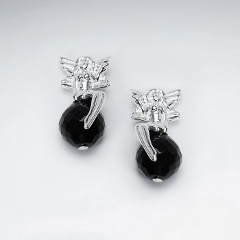 Fairy Silver Stud Earring With Black Stone