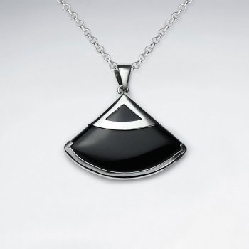 Fan Shape Black Stone Silver Pendant