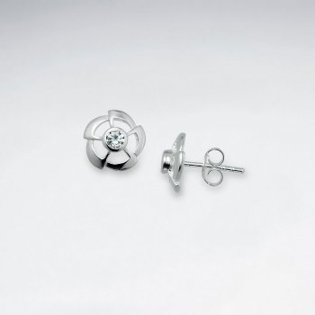Fan Silver Stud Earring With CZ