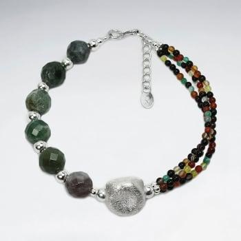Fancy Jasper Large & Small Tribal Bead Bracelet