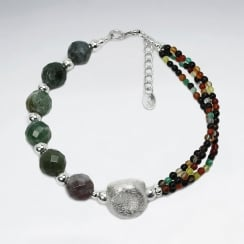 Fancy Jasper Large & Small Tribal Bead Bracelet