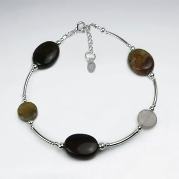 Fancy Jasper & Sterling Silver Spacer Bead Bracelet