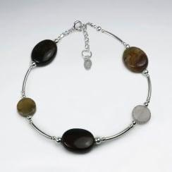 Fancy Jasper & Sterling Silver Spacer Bead Bracelet
