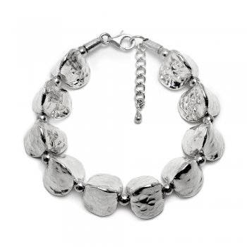 Fancy Sterling Silver Chunky Stone Charm Bracelet