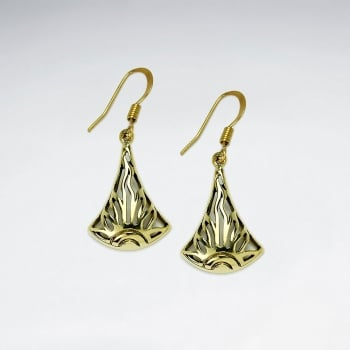 Fanned Slim Brass Filigree Texture Dangle Earrings