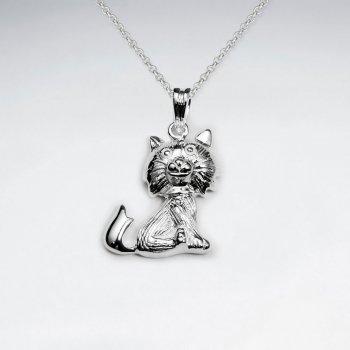Feline Inspired Silver Cat Pendant