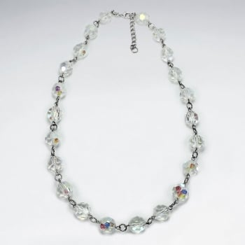 Feminine Sophistication Silver Crystal Necklace