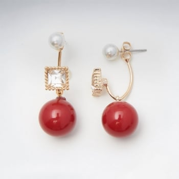 Festive Affair Ball Drop Imitation Pearl Stud Square Brass Earrings