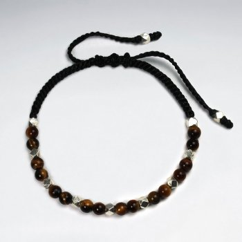 Fierce and Dynamic Tiger Eye Black Waxed Cotton  Bracelet