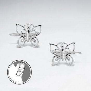 Filigree Butterfly Sterling Silver Ear cuffs