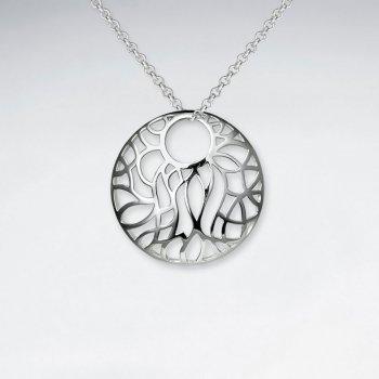 Filigree Circle Hoop Polished Silver Pendant