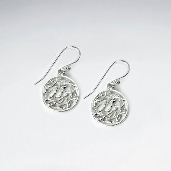 Filigree Circles Sterling Silver Dangle Earrings