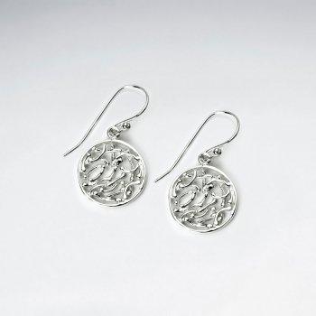 Filigree Circles Sterling Silver Dangle Earrings