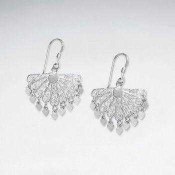 Filigree Delta-Shaped Silver Chandelier Dangle Drop Earrings