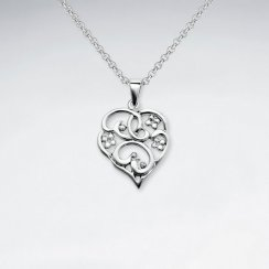 Filigree Heart Inspired Silver Pendant