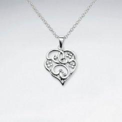 Filigree Heart Inspired Silver Pendant