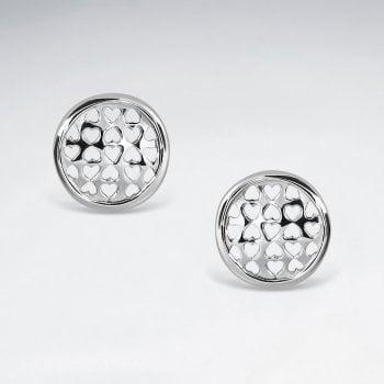 Filigree Hearts Button Stud Earrings