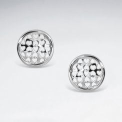 Filigree Hearts Button Stud Earrings