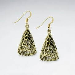 Filigree Inverted Cone Shape Dimensional Dangle Earrings