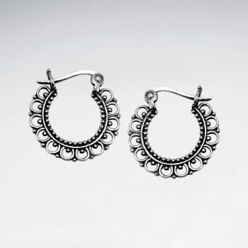 Filigree Sterling Silver Hoop Earrings