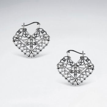 Filigree Sterling Silver Marquis Drop Earrings