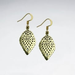 Filigree Teardrop Brass Scalloped Dangle Earrings
