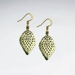 Filigree Teardrop Brass Scalloped Dangle Earrings