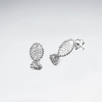 Fish Silhouette Wirework Stud Earrings