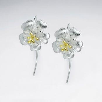 Five Leaf Flower Silver Earrings