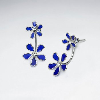 Five Point Double Flower Stud Enamal Silver Earrings