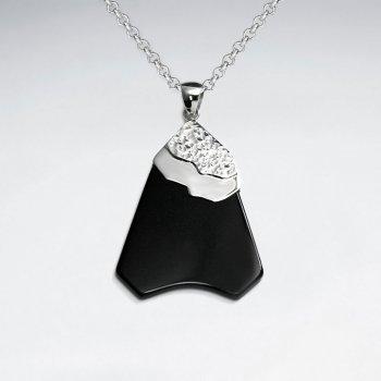 Flat Black Stone Silver Pendant
